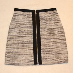 Ann Taylor Zipper Front Tweed Mini Skirt